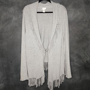 CAROLE LITTLE | Gray Fringe Cardigan Sweater Sz 1X